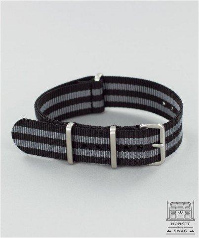 G10-Nato-Nylon-Watch-StrapClassic-Bond-Black-Grey-Stripes-16182022-24mm-widths-20mm-0