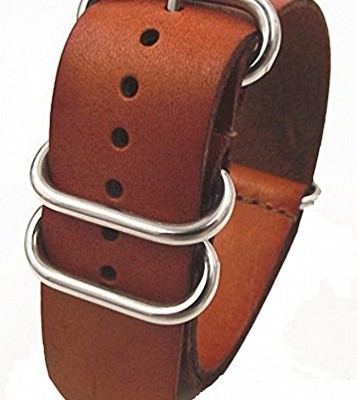 Genuine-Leather-Military-NATO-MOD-Watch-Strap-Various-Colours-and-Sizes-Brown-20mm-0