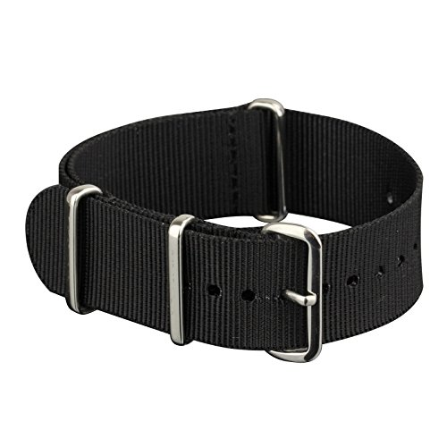 INFANTRY-Military-Black-NATO-Watch-Band-Nylon-Fabric-Strap-G10-4-Rings-Silver-Hardware-20mm-Divers-Strong-WS-NATO-B-20M-0