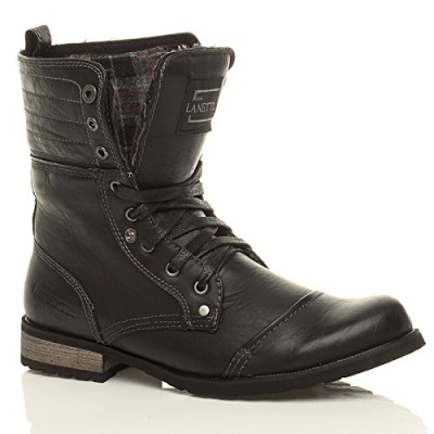 MENS-LACE-UP-LOW-HEEL-FLAT-FOLD-OVER-PADDED-CUFF-MILITARY-ANKLE-BOOTS-SIZE-9-43-0