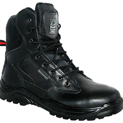 MENS-POLICE-ARMY-SECURITY-TACTICAL-SIDE-ZIP-COMBAT-WORK-BOOTS-STEEL-TOE-CAP-UK-9-Black-0