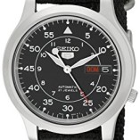 Seiko-5-Mens-Automatic-Watch-with-Black-Dial-Analogue-Display-and-Black-Fabric-Strap-SNK809K2-0