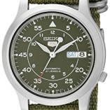 Seiko-5-Mens-Automatic-Watch-with-Green-Dial-Analogue-Display-and-Green-Fabric-Strap-SNK805K2-0
