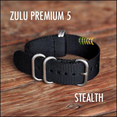 Zulu-Nato-Nylon-Watch-Straps-5-Ring-Stainless-Steel-Hardware-STEALTH-20mm-0