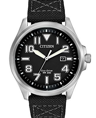 Citizen-Watch-mens-quartz-Watch-with-black-Dial-analogue-Display-and-black-fabric-Strap-AW1410-08E-0