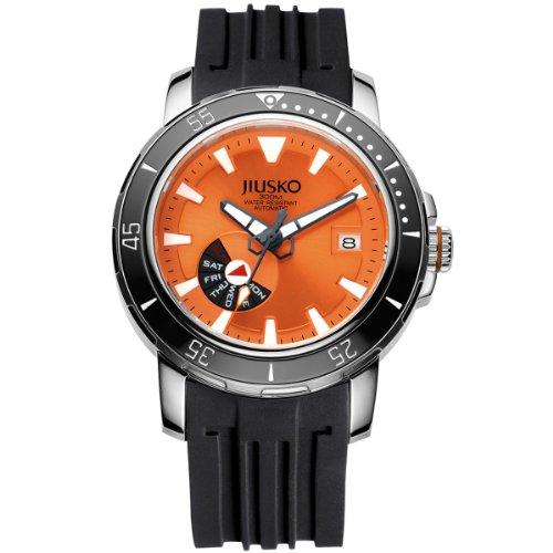 Jiusko deep sea 75lsb12 mens 24 jewel automatic self wind light titanium 300m black dive watch - Orange dive watch ...